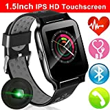 1.55'' IPS Touchscreen Sport Fitness Tracker with Blood Pressure Heart Rate Monitor for Men Women Smartwatch Bluetooth Phone Call Music Camera Kids Stopwatch Run Pedometer Activity Tracker Travel