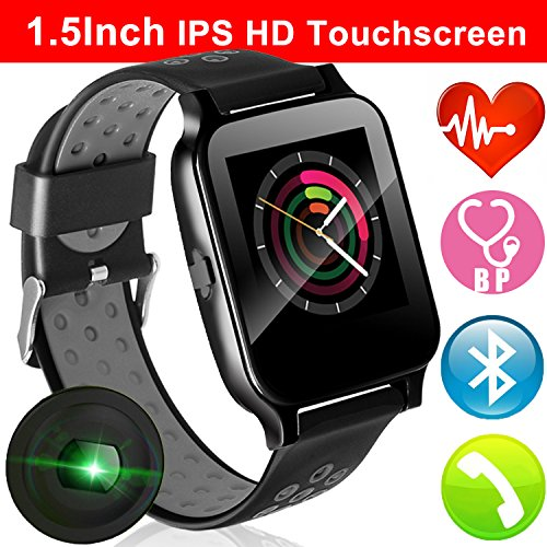 1.54″ Touchscreen Smartwatch Fitness Tracker with Blood Pressure Heart Rate Monitor for Men Women Wristband Kid GPS Activity Tracker Pedometer Calorie BT Call Camera for Android iPhone (1 Black)