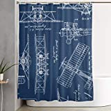"""vintage airplane blueprint - HAUYNVNS Blue Vintage Blueprints Airplane Draft Plan Fabric Shower Curtain Washable Not Easy to Float Waterproof Opaque 60""""72â€in Shower Curtains with Hanging Ring"""