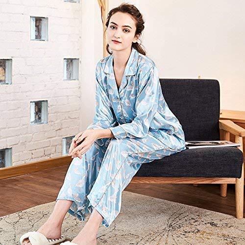 Camisón Impresos Pijamas Manga Piezas Bridge tamaño Pantalones Larga Domicilio Servicio Lindo Para Simulación Sexy tamaño L Seda Dos Large A Blue De Damas ZEw6Cq