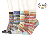 Zebre Women's Vintage Style Winter Thick Knit Warm Wool Casual Soft Cozy Crew Socks ( 5 Pack )