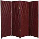 Natural Plant Fiber Woven Room Decor Red 4 Panels Divider