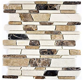 Mosaik Fliese Marmor Naturstein Beige Braun Brickmosaik Castanao Biancone  Für BODEN WAND BAD WC DUSCHE KÜCHE