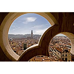 Florence Italy Through the Window Photo Art Print Poster 18x12