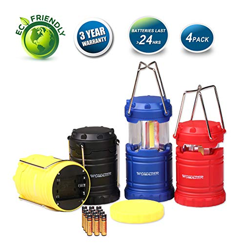 LED Lantern Mini 4 Pack, Camping Lanterns with 12 AAA Battery Operated Portable Collapsible, LED Camping Lantern for Kids Hurricane Camping Emergency Power Outage