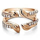 TwoBirch Rose Gold Plated Sterling Silver Leaf Embellished Ring Guard with Cubic Zirconia (0.46 ct. tw.)
