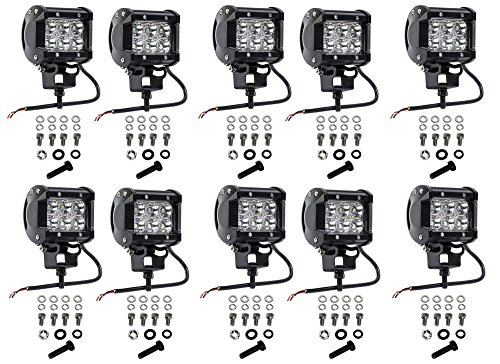 Cutequeen 10 X 18w 1800 Lumens Cree LED Spot Light for Off-road Rv Atv SUV Boat 4x4 Jeep Lamp Tractor Marine Off-road Lighting (pack of 10) (Led Light Cutequeen Car)
