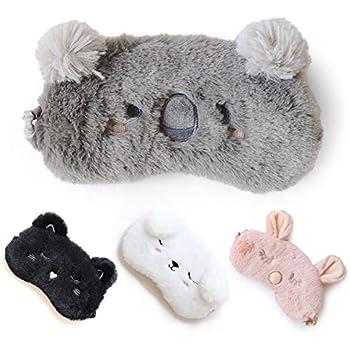 Cute Sleep Mask - Soft and Comfortable Animal Plush Blindfold Eye Cover for Kids Girls Women, Great Eyeshade for Travel, Shift Work, Meditation, Washable (Grey)