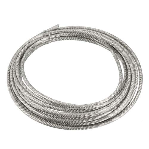uxcell Stainless Steel Wire Rope Cable 3mm 0.12 inch Dia 16.4ft 5m Length 11 Gauge 304 Grade PVC Coated for Hoist Lifting Grinder Pulley Wheel