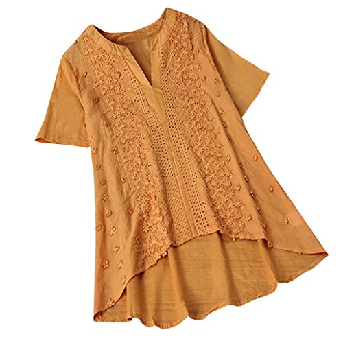 - QIQIU Womens New Linen Embroidery Lace Patchwork V-Neck Short Sleeve Vintage Short Sleeve Casual Tops T-Shirt Blouses Orange