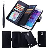 LG G4 Case,LG G4 Detachable Wallet Case,Soundmae Multi-function 2-in-1 Magnetic Separable Removable PU Leather Wallet Case Flip Cover With Credit Card Holder for LG G4[Black]
