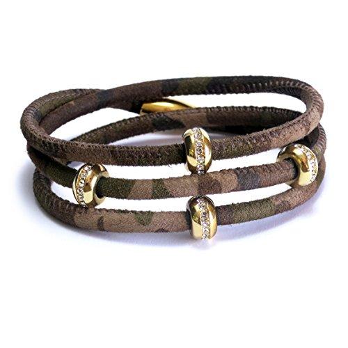 Good Karma Camouflage Leather Triple Wrap Bracelet