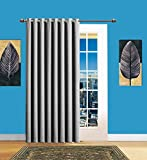 Infinite Home Beauty 1 Panel of Light Grey Blackout Patio Door Curtains. Each Extra Wide Insulated Thermal Sliding Door or Room Divider Curtain is 102″ X 84″ in Size For Sale
