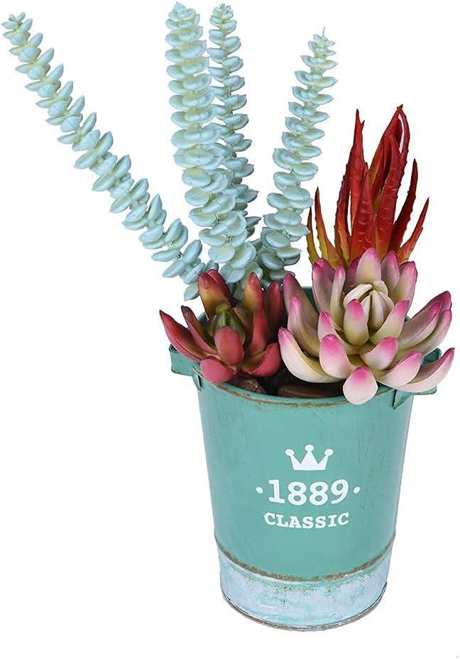 Potted Artificial Succulents Plants, 4 Pcs Realistic Fake Table Plants with 1 Rustic Pot, Home Office Decoration Desk Artificial Plants Indoor Decor Arrangement