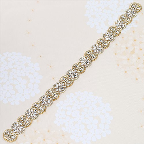 Sew on Gold Crystal Rhinestone Wedding Dress Sash Applique with Beads Jeweled Sequin Diamond Embellishments Hot Fix Iron on for Bridal Bridesmaid Gown Womens Prom Formal Waist Belt Bride Keepsake Gift