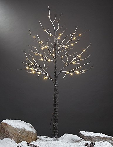 Lightshare 5 Feet Snow Dusted Tree, 72 LED Lights, Warm White, for Christmas Tree and Christmas Village Decoration, Decoration Idea for Home, Festival, and Party, Indoor and Outdoor Use