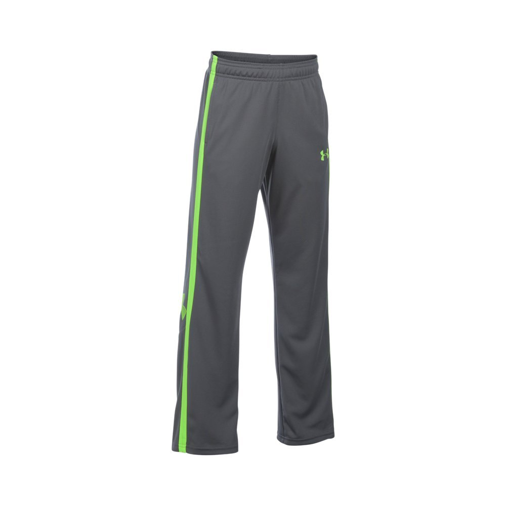 Under Armour Boys' Champ Warm-Up Pants, Graphite (040)/Fuel Green, Youth Large