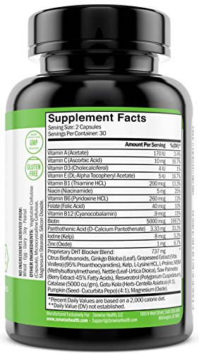 Hair Growth Vitamins Supplement - 5000 mcg Biotin & DHT Blocker Hair Loss Treatment for Men & Women - 1 Month Supply With Vitamin A & E to Stimulate Faster Regrowth + Care for Damaged Hair - 60 Pills by Zenwise Health (Image #1)