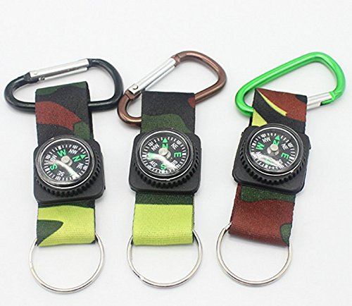 - CAMOUFLAGE ARMY BELT CLIP COMPASS CARABINER KEY CHAINS(3 Pack)