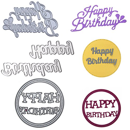3 Pack Happy Birthday Die-Cuts for Card Making, Buytra Metal Cutting Dies Stencil Template for Scrapbooking, Photo Album Paper DIY - Birthday Happy Templates