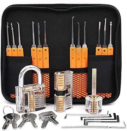 24 pezzi Bestargot Set di grimaldelli per serratura con 3 lucchetti trasparenti