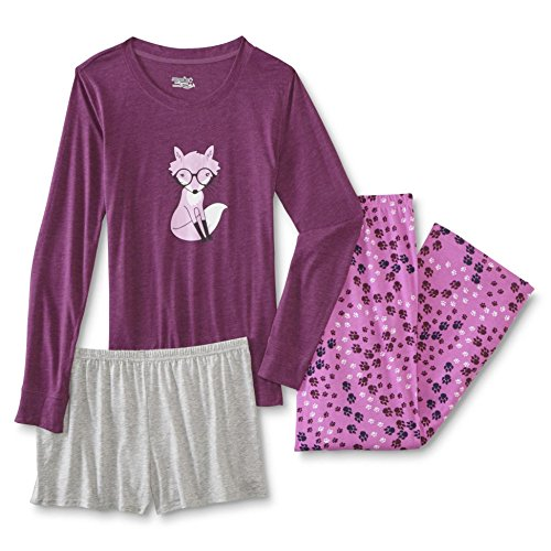 Joe Boxer Women's Plus Size 3-Piece Pajamas Lounge Set with Shirt, Shorts, and Pants (Foxy, X-Large) (Pants Boxer Joe)