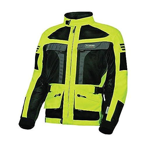 Olympia Moto Sports MJ222 Mens Dakar Dual Sport Mesh Tech Jacket (Neon Yellow/Black, XX-Large)