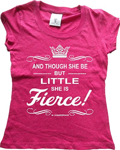 Orange Arrow Glitter Dance Clothing Youth (S, Pink GLIT) - She Is Small But Fierce - Hip Hop Shirt (Girls Glitter T-shirt)
