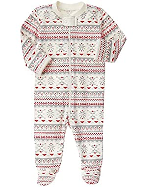 Baby Red and Grey Fairisle Footed Onepiece
