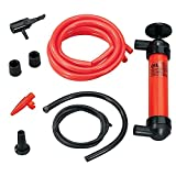 3-in-1 Hand Siphon Pump Gas/Liquid/Air Manual Travel Emergency Vehicle Pump Multi-Use Siphon Fuel Transfer Pump Kit (for Gas Oil and Liquids) HDGGE Red CYC-01
