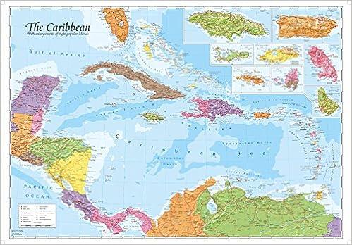 Caribbean and Main Islands Wall Map: Oxford Cartographers ...