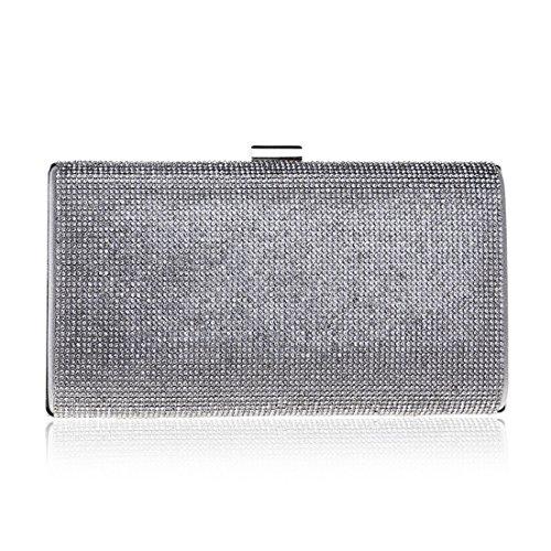 Clutch Silber Abendtasche Package Damen Farbe Black Abend FLY Dinner Strass Kleid Paket 1axnY