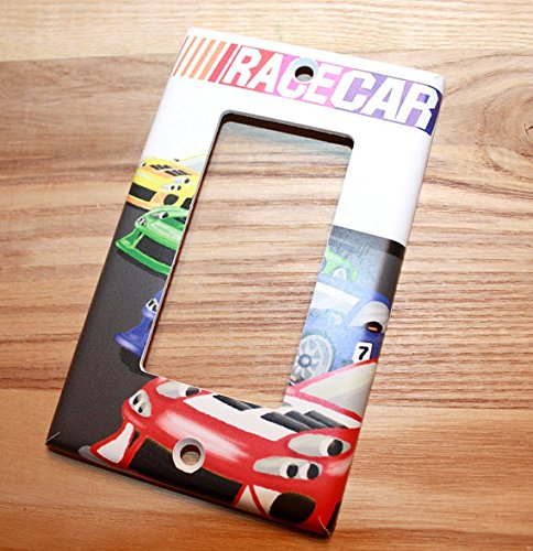 Race Cars Racing Boys Kids Bedroom Baby Nursery Light Switch Cover LS0054 (Single Cable) Toad and Lily LS0054d