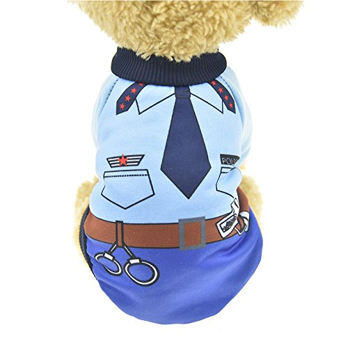 MUYAOPET Police Dog Costume Winter Warm Dog Shirt Clothes Dog Hoodies Sweatshirts for Small Dog (S, -