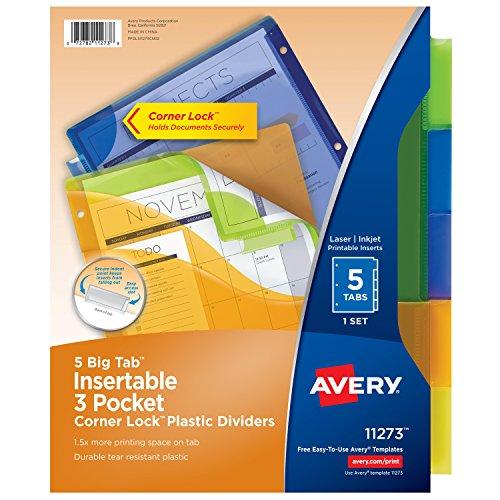 Avery Big Tab Insertable Three-Pocket Corner Lock Plastic Dividers, 5 Multicolor Tabs, 1 Set (11273)