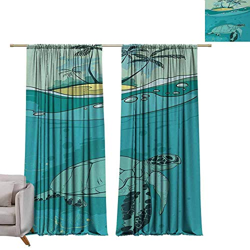 berrly Custom Curtains Ocean,Sea Turtle Swimming Coral Reef Exotic Island Underwater Life Illustration,Turquoise Teal Green W96 x L108 Grommet Window - Island Tortilla Turtle