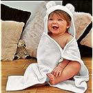 Teenie Greenie Baby Bamboo Baby Hooded Towel & Washcloth Gift Set - White - Large