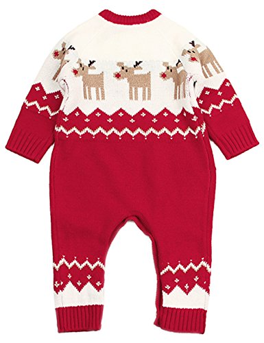 Angekids Baby Winter Sweater Christmas Theme Deer Pattern Two Colors Infant Romper (0-6M(Tag70), - Beautiful Sweater Wool Baby