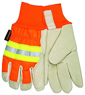 MCR Safety 3440L Luminator Grain Pigskin Thermosock Lining Driver Men's Gloves with Wing Thumb, Cream/Orange, Large