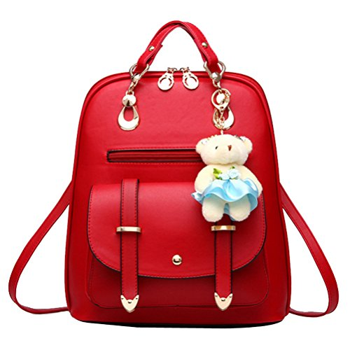 Small Ants Girls Costume Backpack Leather School Backpack with Bear Pendant (Red) ()