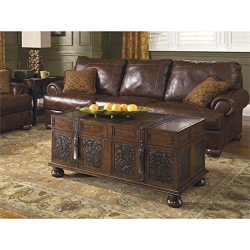 Ashley Furniture Signature Design - McKenna Coffee Table with Storage - Cocktail Height - Dark (Bronze Leather Accent Table)