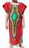 Raan Pah Muang RaanPahMuang Tassel Hemmed Full One Piece Dashiki Short Sleeve Dress In Base White, 1-3 Years, Red