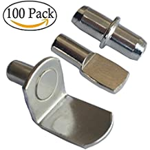 100 Pieces Shelf Bracket Pegs Nickel Plated Cabinet Furniture Shelf Pins Support 3 Styles silver color