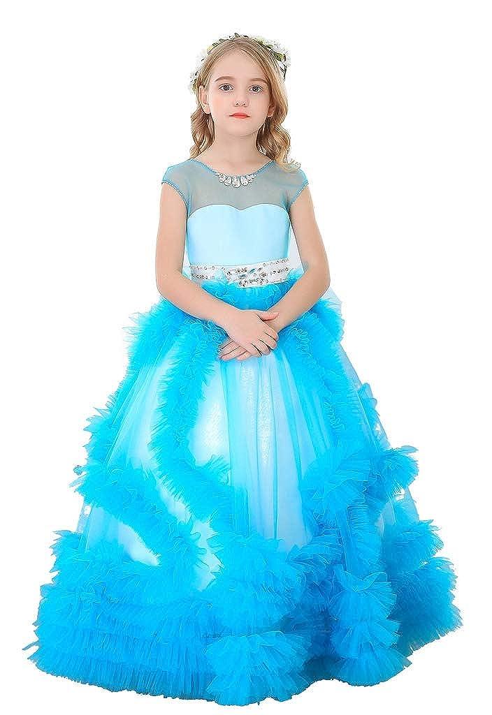 Bleu 10_ans Bow Dream Pierre Tulle Robe de Fille d'Honneur Cérémonie de Mariage