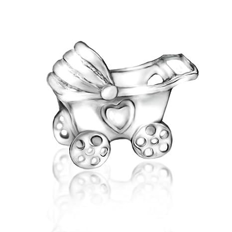 Cochecito de bebé carro cochecito 925 plata de ley cuenta para pulsera compatible con Pandora Chamilia