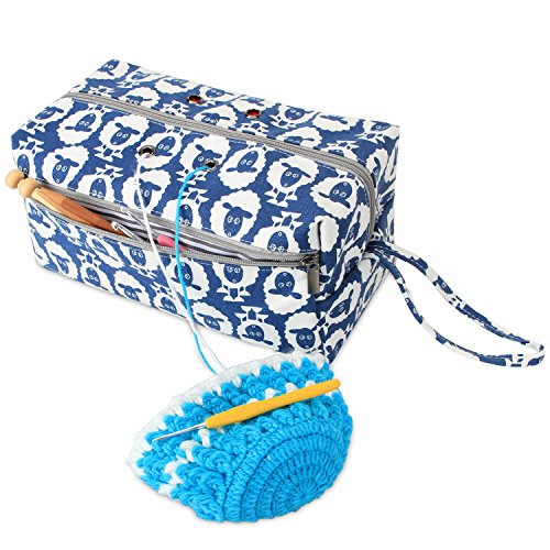 Luxja Yarn Storage Bag, Carrying Knitting Bag for Yarn Skeins, Crochet Hooks, Knitting Needles (up to 10 Inches) and Other Small Accessories (Large, Sheep) by LUXJA