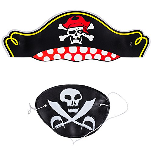 Pirate Eye Patch & Pirate Hat - Set of 12 ()