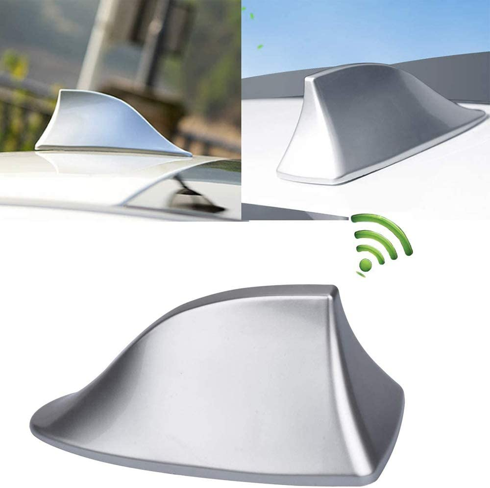 Heart Horse Upgraded Signal Universal Shark Fin Antenna Cover FM/AM Radio Aerial Replacement for BMW/Honda/Toyota/Hyundai/Kia/etc Silver