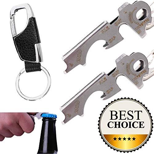 GABraden keychain Bottle Opener Multi Tool,100% Stainless Steel edc Gadget,[Bottle Opener,Screwdriver,Tweezers,Nail File etc](Silver)