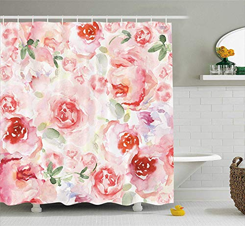 Nyngei Watercolor Flower Decor Collection Soft Colored Pale Faded Mix of Roses Vintage Style Romantic Dream Painting Polyester Fabric Bathroom Shower Curtain Set with Hooks Pink Green